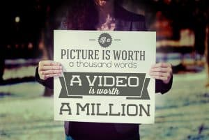 image of person holding sign that says a picture is worth a thousand words