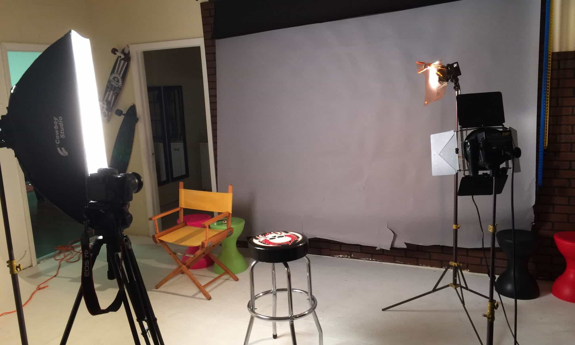 studio setup for shoot